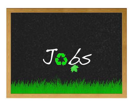 Isolated blackboard with Green jobs.