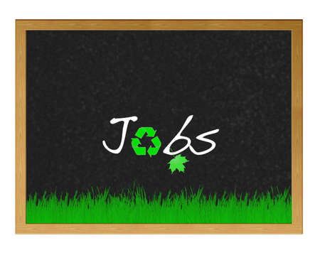 office environment: Isolated blackboard with Green jobs.
