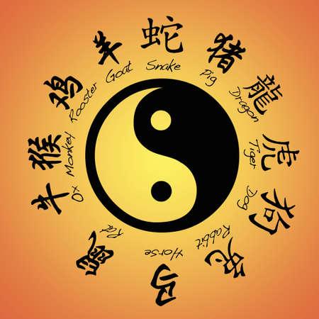 Chinese zodiac signs and yin yang  Stock Photo