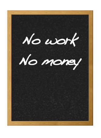 Isolated blackboard with no work, no money. photo