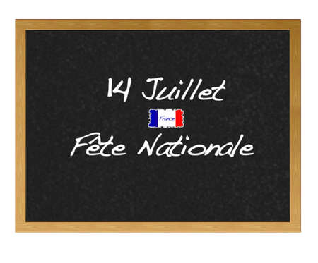Isolated blackboard with National day France. photo