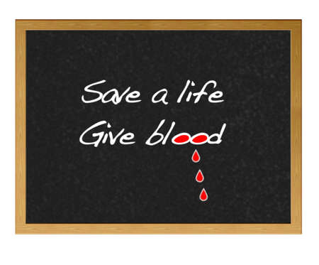 give: Isolated blackboard with give blood.