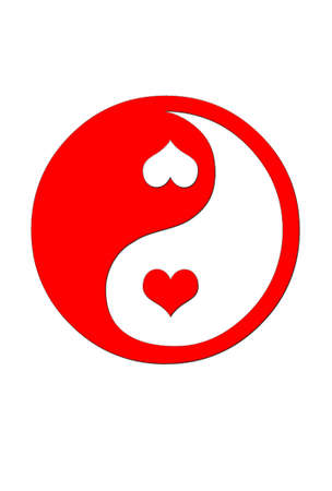 peace day: Illustration with a  Yin yang heart. Stock Photo