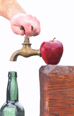 Apple with tap to make cider. photo