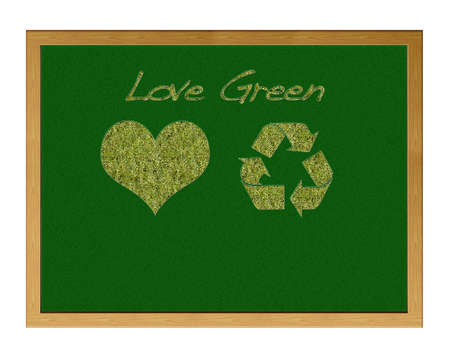 Blackboard with a heart and sign recicle. photo