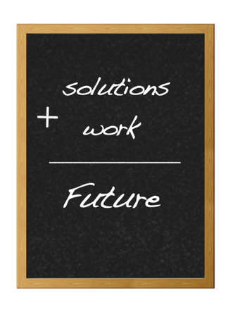 Isolated blackboard with work and future. Stock Photo - 12881190