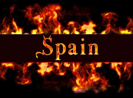 burning money: Spain with framework of fire.