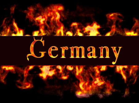 burning money: Germany with framework of fire.