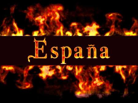 Spain with framework of fire. photo