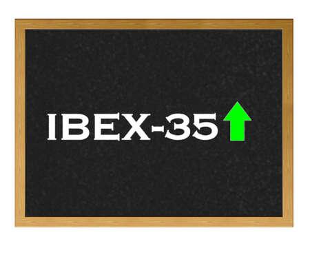Isolated blackboard with Ibex 35 positive. Stock Photo - 13107554