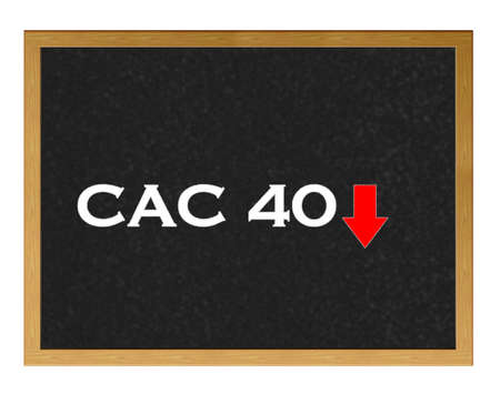 Isolated blackboard with Cac 40 negative. Stock Photo - 13107559