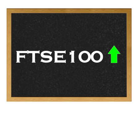 Isolated blackboard with FTSE 100 positive. Stock Photo - 13107561