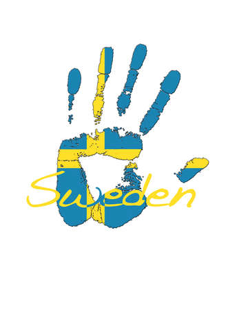Hand painted flag of Sweden. photo