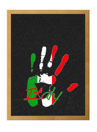 Isolated blackboard with hand painted flag of Italy. photo