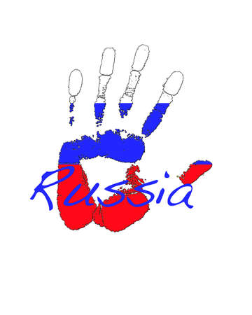 tourism in russia: Hand painted flag of Russia .