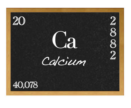 Isolated blackboard with periodic table, Calcium. photo