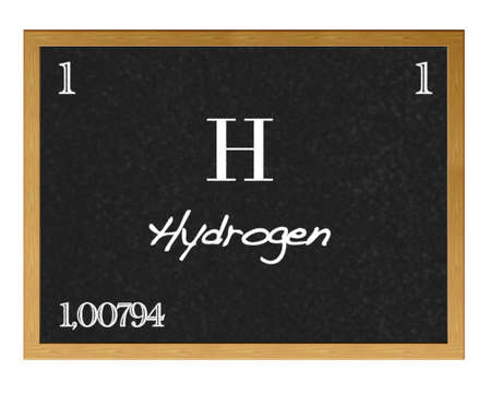 hydrogen: Isolated blackboard with periodic table, Hydrogen.