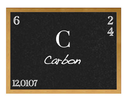 neutrons: Isolated blackboard with periodic table, Carbon.
