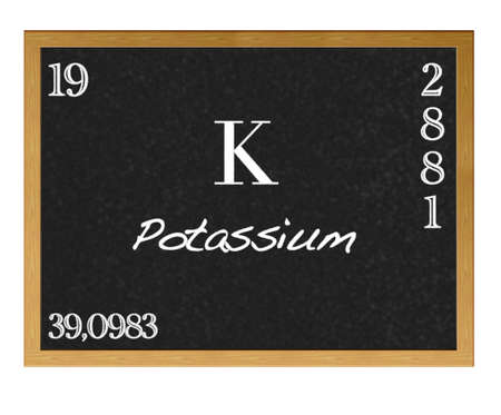 neutrons: Isolated blackboard with periodic table, Potassium. Stock Photo