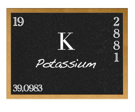 neutrons: Pizarra aislada con la tabla peri�dica, el potasio. Foto de archivo