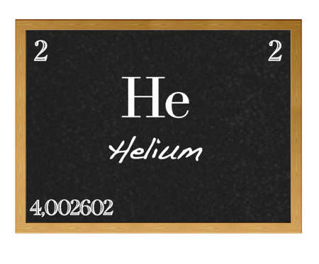 lanthanoids: Isolated blackboard with periodic table, Helium.