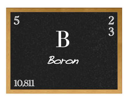 boron: Isolated blackboard with periodic table, Boron.