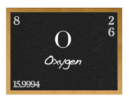 neutrons: Isolated blackboard with periodic table, Oxygen.