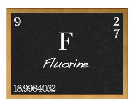 Isolated blackboard with periodic table, Fluorine. photo