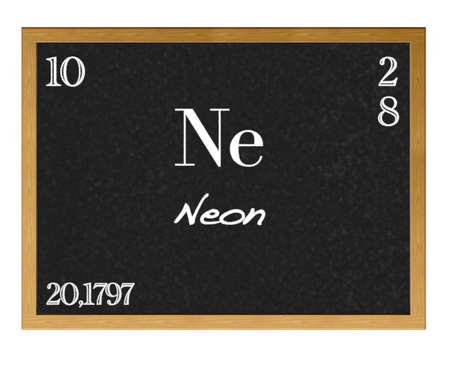actinoids: Isolated blackboard with periodic table, Neon.