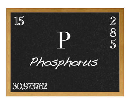 actinoids: Isolated blackboard with periodic table, Phosphorus.