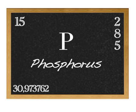 protons: Pizarra aislada con la tabla peri�dica, f�sforo. Foto de archivo