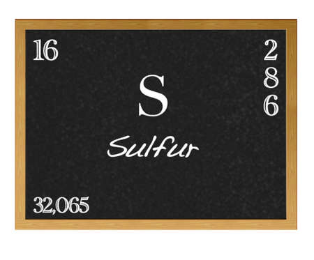 sulfur: Isolated blackboard with periodic table, Sulfur. Stock Photo