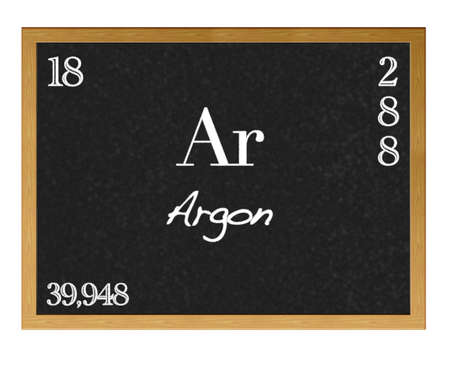 neutrons: Isolated blackboard with periodic table, Argon. Stock Photo