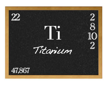 Isolated blackboard with periodic table, Titanium.