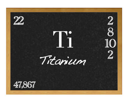 Isolated blackboard with periodic table, Titanium. photo