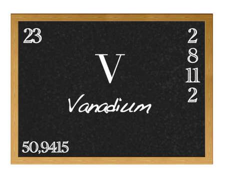 vanadium: Isolated blackboard with periodic table, Vanadium.