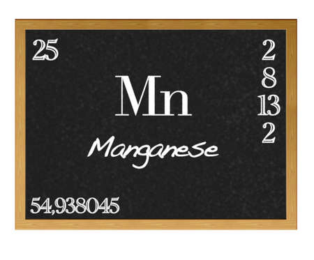 neutrons: Isolated blackboard with periodic table, Manganese. Stock Photo