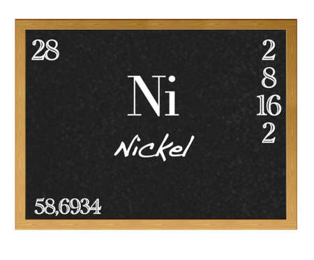 Isolated blackboard with periodic table, Nickel. photo