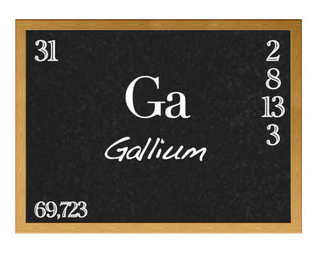 actinoids: Isolated blackboard with periodic table, Gallium. Stock Photo