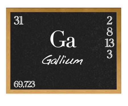 Isolated blackboard with periodic table, Gallium. Stock Photo - 13123332