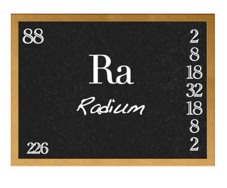 radium: Isolated blackboard with periodic table, Radium. Stock Photo