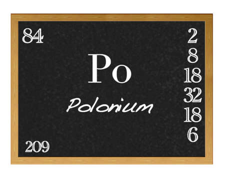 protons: Isolated blackboard with periodic table, Polonium. Stock Photo