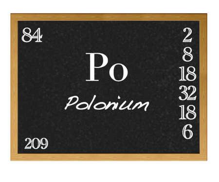 polonium: Isolated blackboard with periodic table, Polonium. Stock Photo