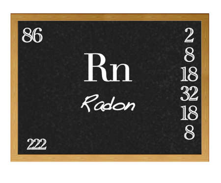 Isolated blackboard with periodic table, Radon. photo