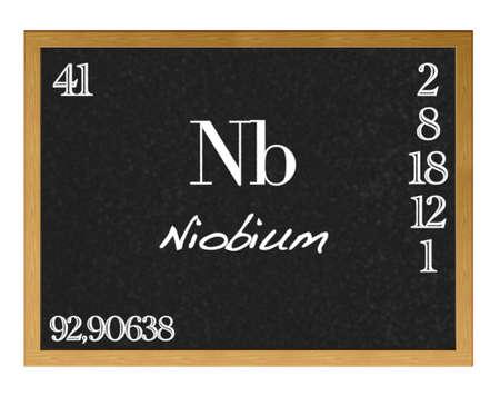 niobium: Isolated blackboard with periodic table, Niobium