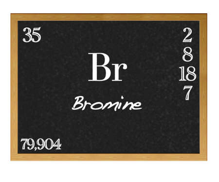 neutrons: Isolated blackboard with periodic table, Bromine  Stock Photo