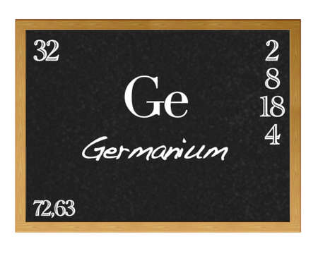 protons: Isolated blackboard with periodic table, Germanium  Stock Photo