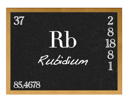 actinoids: Isolated blackboard with periodic table, Rubidium  Stock Photo