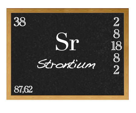 strontium: Isolated blackboard with periodic table, Strontium