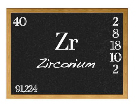 protons: Isolated blackboard with periodic table, Zirconium  Stock Photo